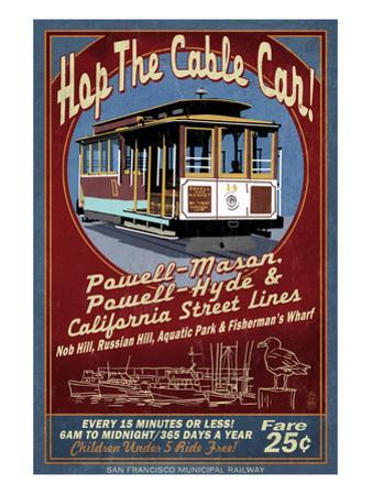 San Francisco, California - Cable Car by Lantern Press