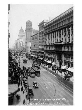 San Francisco, California - Emporium and Market Street Cable Cars by Lantern Press