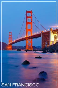 San Francisco, California - Golden Gate Bridge at Night by Lantern Press