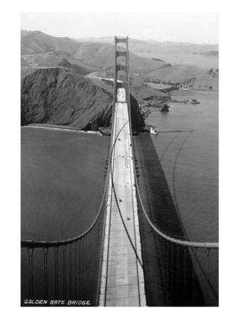 San Francisco, California - Golden Gate Bridge from Bridge Pinnacle by Lantern Press