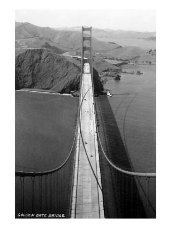 San Francisco, California   Golden Gate Bridge From Bridge Pinnacle By  Lantern Press