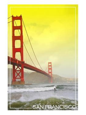 San Francisco, California - Golden Gate Bridge Yellow Sky by Lantern Press