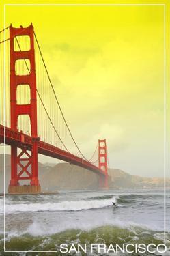 San Francisco, California - Golden Gate Bridge Yellow Sky by Lantern Press