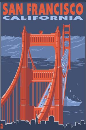 San Francisco, California - Golden Gate Bridge by Lantern Press
