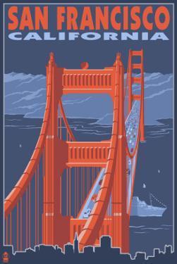 San Francisco, California - Golden Gate Bridge by Lantern Press