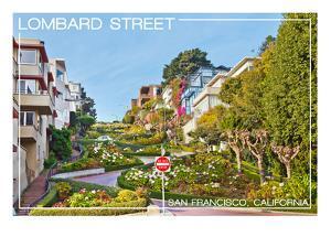 San Francisco, California - Lombard Street by Lantern Press