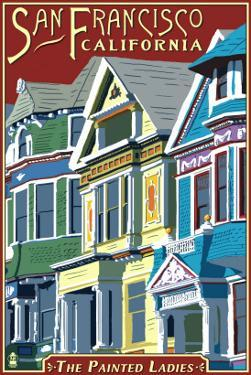 San Francisco, California - Painted Ladies by Lantern Press