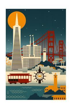 San Francisco, California - Retro Skyline (no text) by Lantern Press