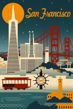 San Francisco, California - Retro Skyline by Lantern Press