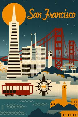 San Francisco, California - Retro Skyline by Lantern Press