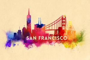 San Francisco, California - Skyline Abstract by Lantern Press