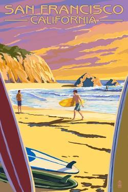 San Francisco, California - Surfers at Sunset by Lantern Press