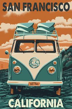 San Francisco, California - VW Van by Lantern Press