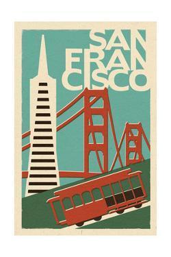 San Francisco, California - Woodblock by Lantern Press