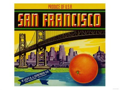 San Francisco Orange Label - San Francisco, CA by Lantern Press