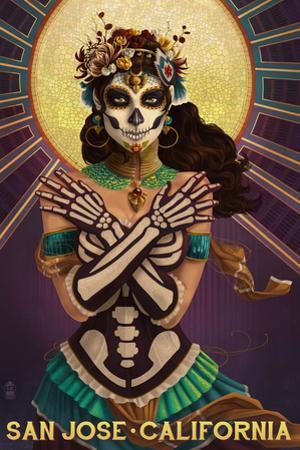 San Jose, California - Day of the Dead Crossbones by Lantern Press
