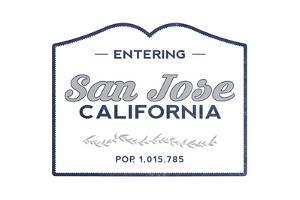 San Jose, California - Now Entering (Blue) by Lantern Press