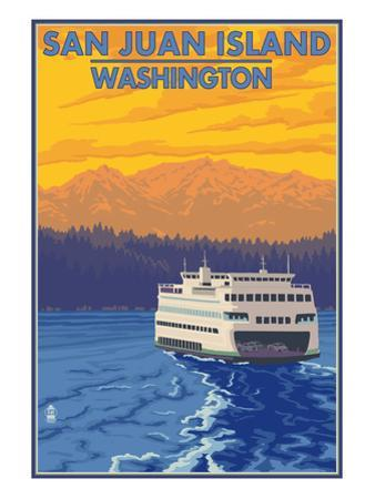 San Juan Island, Washington - Ferry and Mountains by Lantern Press