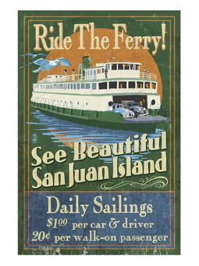 San Juan Island, Washington - Ferry Ride by Lantern Press