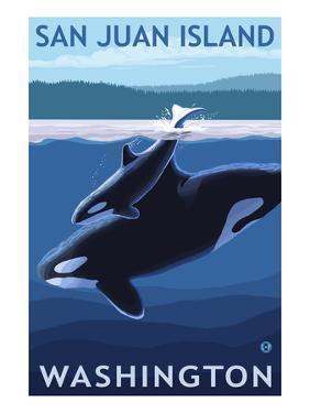 San Juan Island, Washington - Orca and Calf by Lantern Press