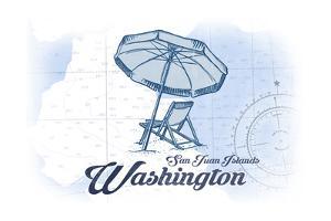 San Juan Islands, Washington - Beach Chair and Umbrella - Blue - Coastal Icon by Lantern Press
