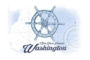 San Juan Islands, Washington - Ship Wheel - Blue - Coastal Icon by Lantern Press