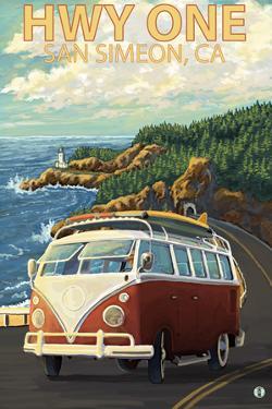 San Simeon, CA - VW Van Coastal Drive by Lantern Press