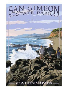 San Simeon State Park - Beach Scene - California by Lantern Press