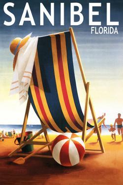 Sanibel, Florida - Beach Chair and Ball by Lantern Press