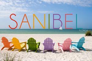 Sanibel, Florida - Colorful Beach Chairs by Lantern Press