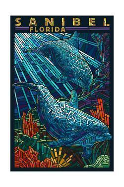 Sanibel, Florida - Dolphins Paper Mosaic by Lantern Press