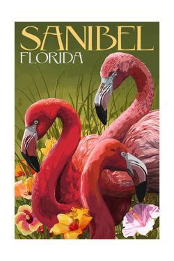 Sanibel, Florida - Flamingos by Lantern Press