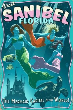 Sanibel, Florida - Live Mermaids by Lantern Press