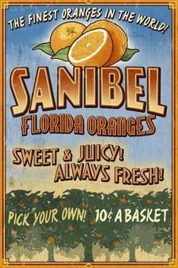 Sanibel, Florida - Orange Grove Vintage Sign by Lantern Press