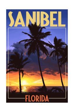 Sanibel, Florida - Palms and Sunset by Lantern Press