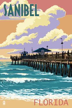 Sanibel, Florida - Pier and Sunset by Lantern Press