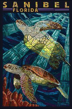 Sanibel, Florida - Sea Turtle Paper Mosaic by Lantern Press