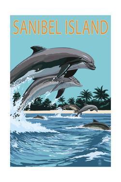 Sanibel Island, Florida - Dolphins Jumping by Lantern Press