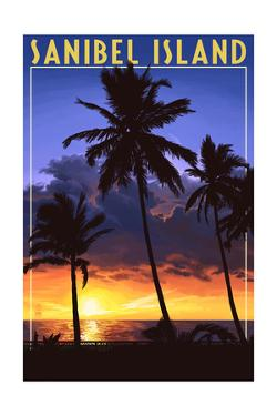 Sanibel Island, Florida - Palm and Sunset by Lantern Press