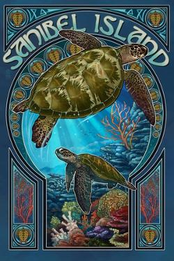 Sanibel Island, Florida - Sea Turtle Art Nouveau by Lantern Press