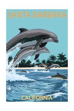 Santa Barbara, California - Dolphins Jumping by Lantern Press