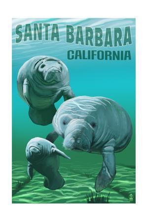 Santa Barbara California - Manatees - Manatees by Lantern Press