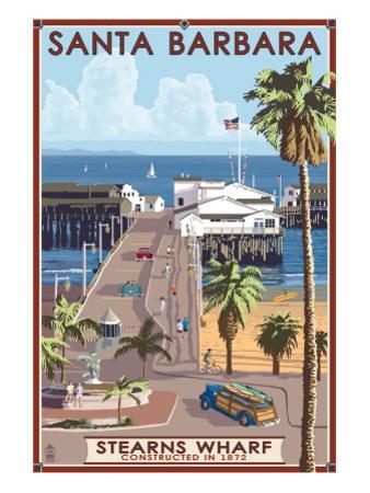 Santa Barbara, California - Stern's Wharf by Lantern Press