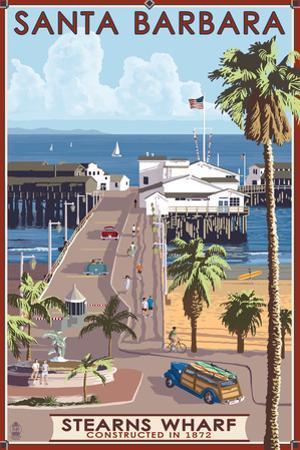 Santa Barbara, California - Stern's Wharf by Lantern Press