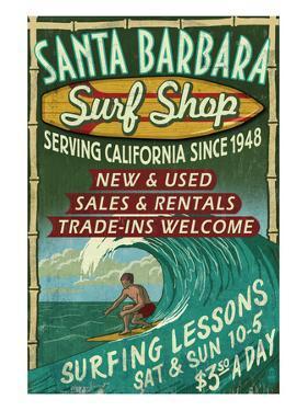 Santa Barbara, California - Surf Shop by Lantern Press