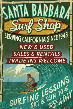 Santa Barbara, California - Surf Shop by Lantern Press
