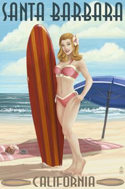 Santa Barbara, California - Surfer Pinup by Lantern Press
