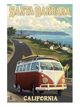 Santa Barbara, California - VW Van Scene by Lantern Press