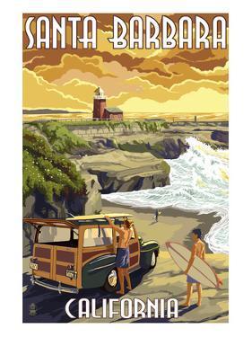 Santa Barbara, California - Woody and Lighthouse by Lantern Press