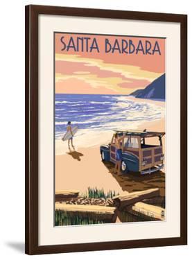 Santa Barbara, California - Woody on Beach by Lantern Press